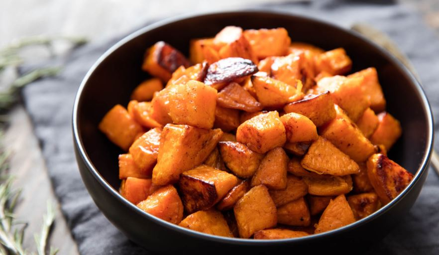 Bowl of cooked sweet potatoes.