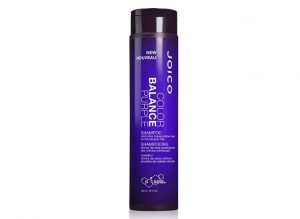 Bottle of joico color balance purple shampoo.