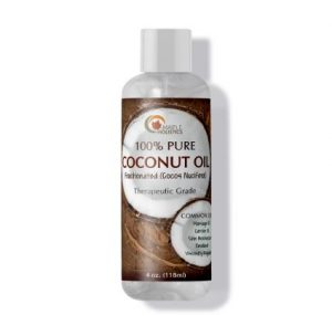 Bottle of maple holistics coconut oil.