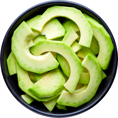 Avocado sliced in a bowl.