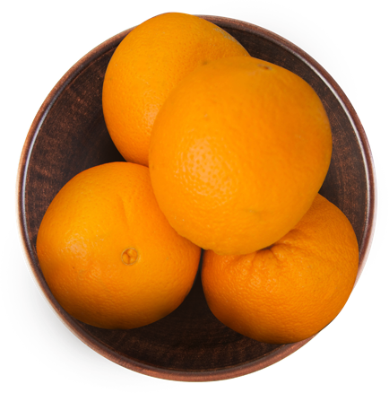 Oranges in a bowl.