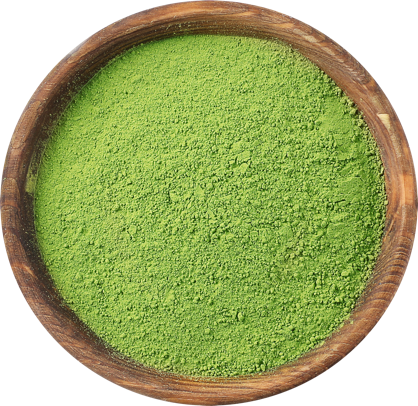 Green tea powder in a bowl.