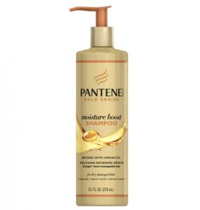 A bottle of Pantene Gold Series moisture boost shampoo.
