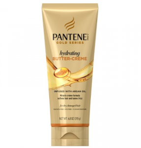 A bottle of Pantene Gold Series hydrating butter-creme.