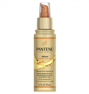 A bottle of Pantene Gold Series intense hydrating oil.