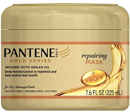 A tub of Pantene Gold Series repairing hair mask.