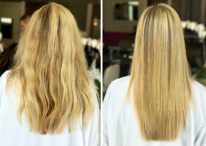 Keratin before and after results.