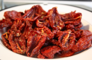 A bowl of sun-dried tomatoes.
