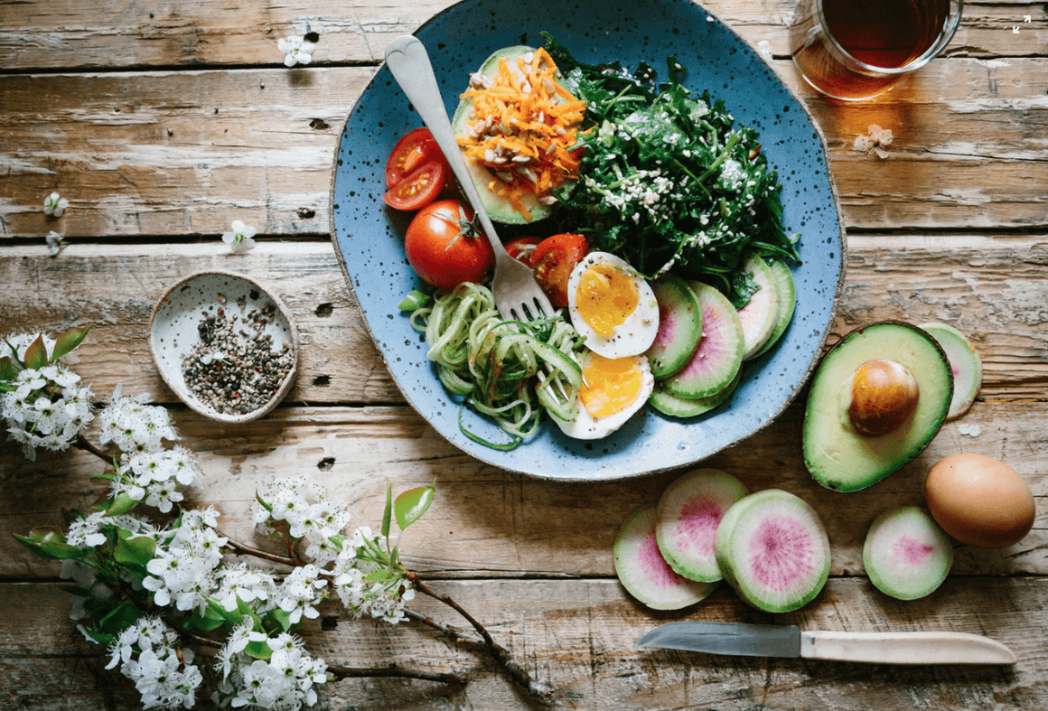 Healthy colorful food.