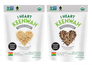 Two bags of I Heart Keenwah toasted quinoa.