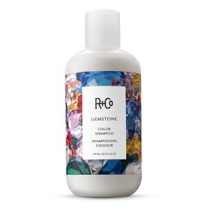 Bottle of R + Co Gemstone shampoo.