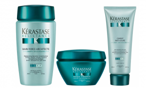 Two bottles and a tub of Kérastase treatment..