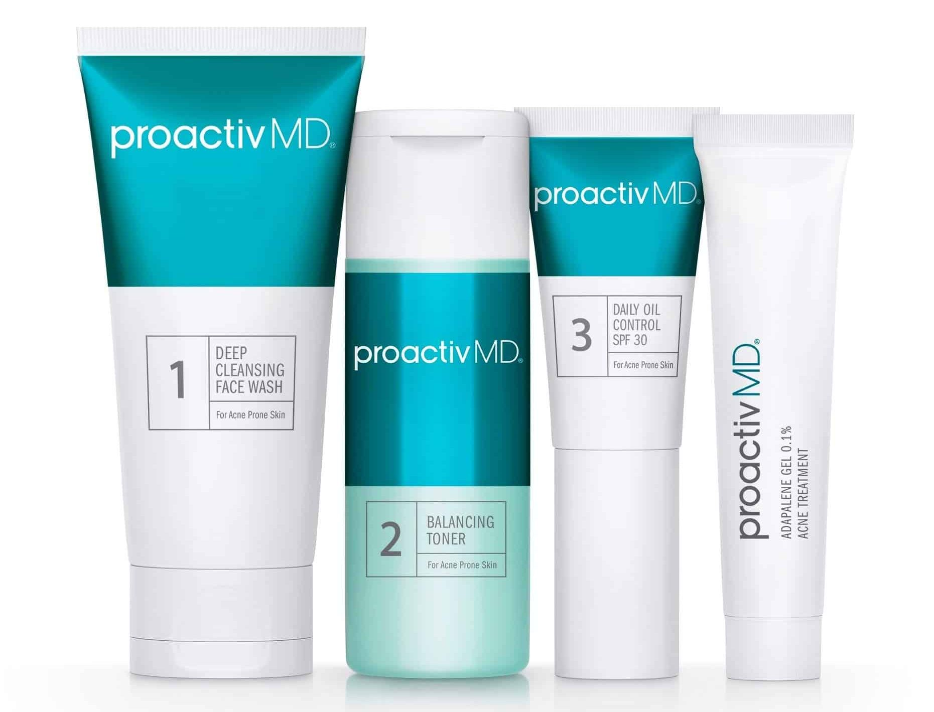 Four bottles of Proactiv MD Essentials System.