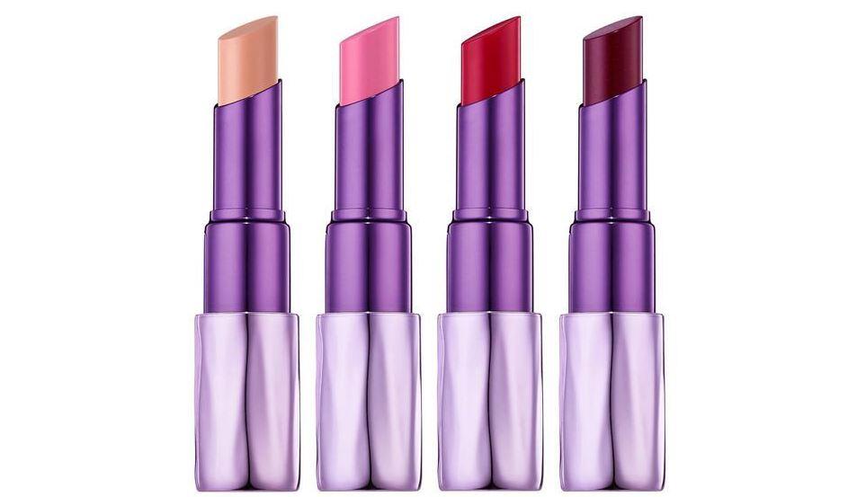 Four purple revolution urban decay lipsticks.