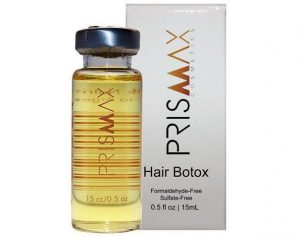 Bottle of prismax hair botox treatment and box.