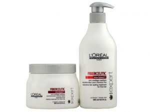 Bottles of L'Oreal Serie Expert Fiberceutic Restorative Hair Sealing Treatment.