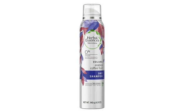 Can of Herbal Essences' arabica coffee fruit volume dry shampoo.