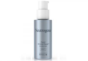 Bottle of neutrogena wrinkle repair moisturizer with pump top.