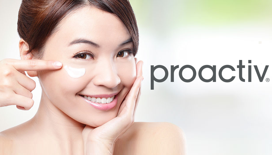 Woman moisturizing her face next to proactiv logo.