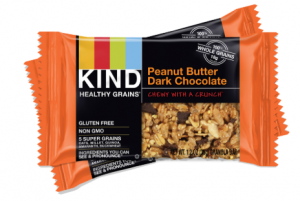 Two bars of kind bar peanut butter dark chocolate.