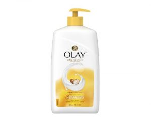 Bottle of Olay's shea butter body wash.