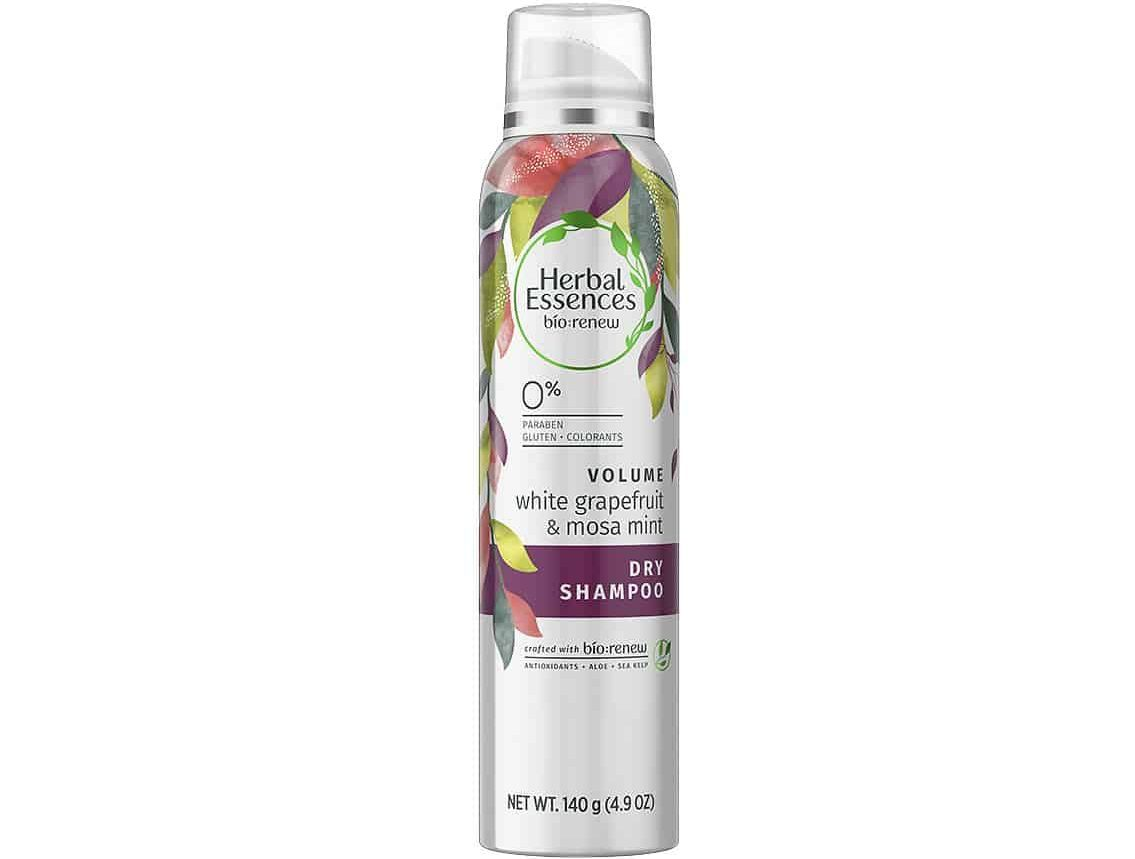 Bottle of Herbal Essences White Grapefruit & Mosa Mint Dry Shampoo.