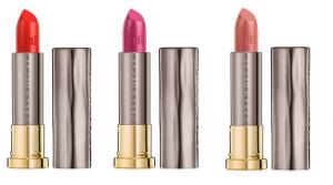 Three open tubes of Urban Decay Vice Lipsticks.