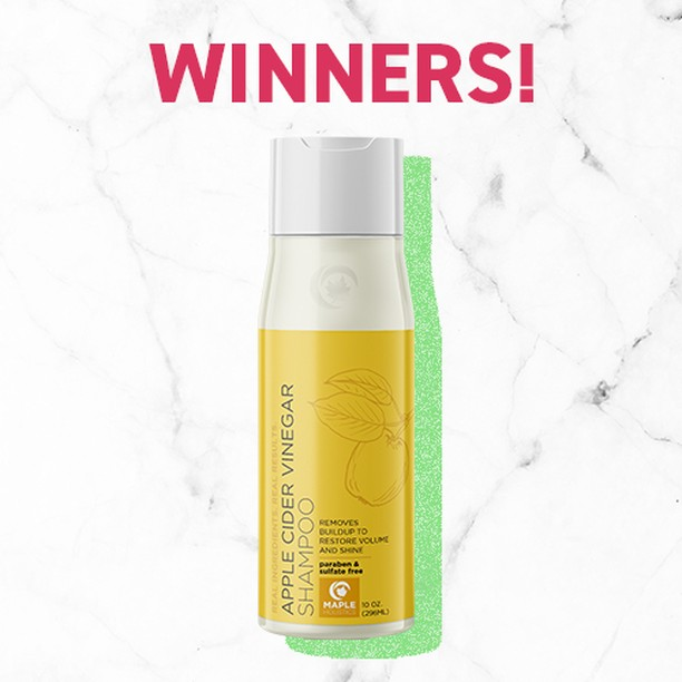 📣🎆Giveaway Winners!!🎆📣⠀⠀⠀⠀⠀⠀⠀⠀⠀ Congratulations to:⠀⠀⠀⠀⠀⠀⠀⠀⠀ @downsouthgal and @stephennpa⠀⠀⠀⠀⠀⠀⠀⠀⠀ You are the proud new owners of a fabulous Maple Holistics ACV shampoo.⠀⠀⠀⠀⠀⠀⠀⠀⠀ PM us your address and your gift package will be 🚀 right on its way